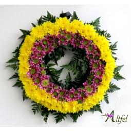 Coroana din crizanteme Saba si galbene