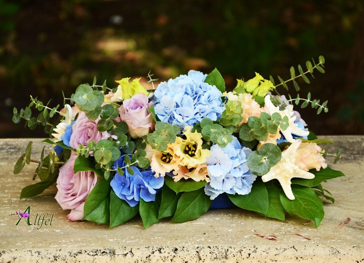 Aranjament Trandafiri Lisianthus Hortensie Albastra Aranjamente