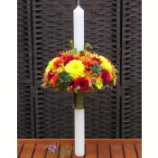 Lumanare de botez crizanteme multicolore
