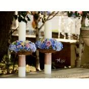 Lumanari cununie trandafiri,  hortensii  albastre si lisianthus