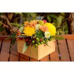 Aranjament de masa crizanteme multicolore