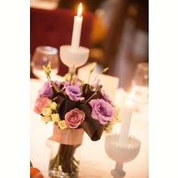 Aranjament trandafiri, miniroze si lisianthus Lavender