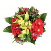 Buchet de trandafiri, cymbidium, gerbera si alstroemeria