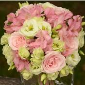 Buchet trandafiri Sweet Avalanche, lisianthus si alstroemeria