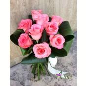 Buchet 9 trandafiri roz
